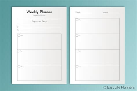 printable weekly planner cards weekly planner a5 printable templates creative market