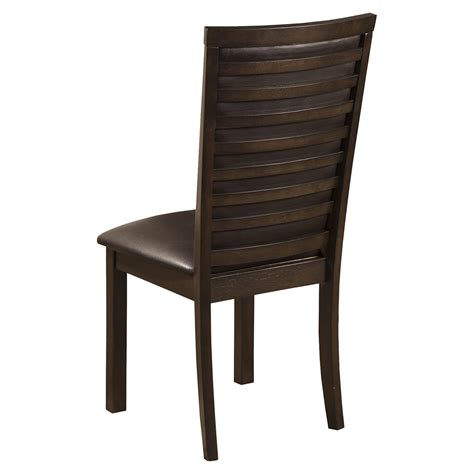 lakeport espresso side chair w faux leather cushion davenport side chair espresso faux leather dcg stores