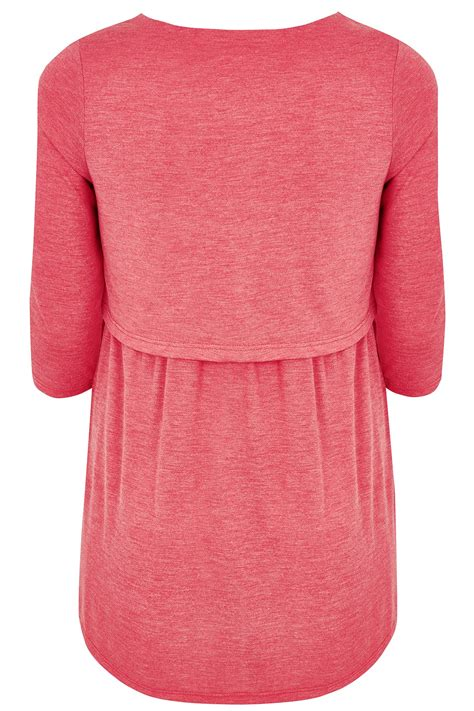 Fn Sweater Nots bump it up maternity coral layered tunic top with nursing function plus size 16 to 32