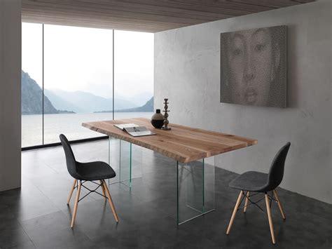 tavoli legno vetro tavolo con base in vetro piano in frassino massello