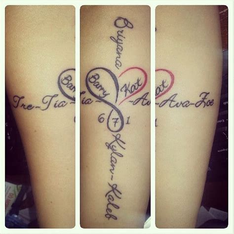 family tattoo with dates kid names marriage date and infinity symbol on pinterest