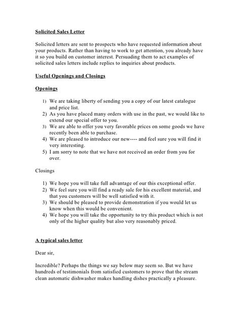 Solicited Sales Letter Sales Letter Template 2