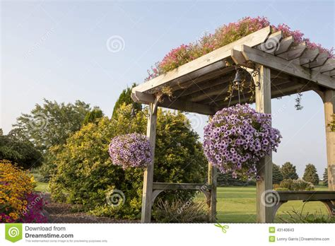Garden Bench With Trellis by Garden Pergola With Walking Path Stock Photo Image 43140843