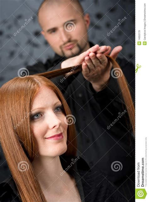 Professional Hair Dresser by Professional Hairdresser At Luxury Salon Stock Photo