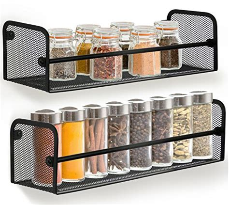Single Shelf Spice Rack by Greenco Wall Mount Single Tier Mesh Spice Rack Black Set 2 Import It All