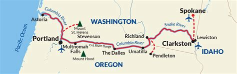 columbia river usa map columbia and snake river cruises