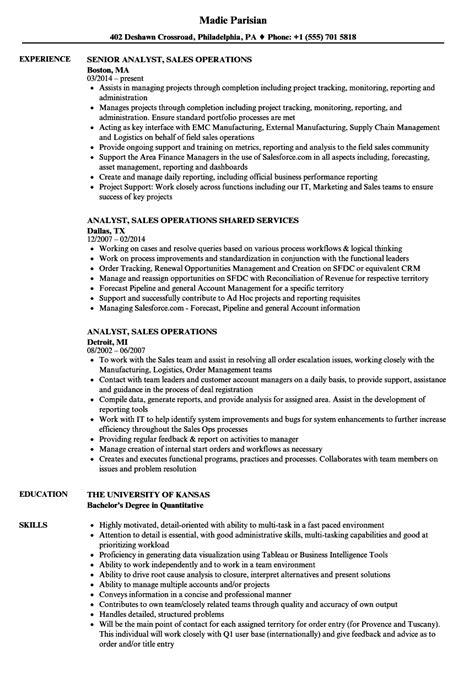 Broadcast Operations Manager Sle Resume by Analyst Sales Operations Resume Sles Velvet