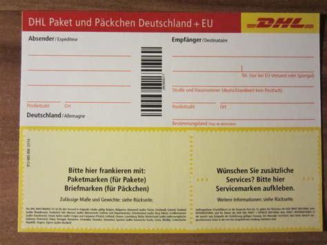Paketschein Drucken Unfrei by Dhl Paketschein Paketmarke Post Paket