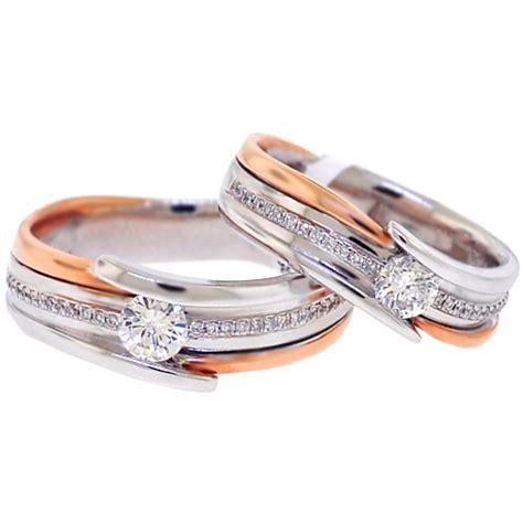 Wedding Bands Two by Two Wedding Bands Set 18k Two Tone Gold 0 78 Ct