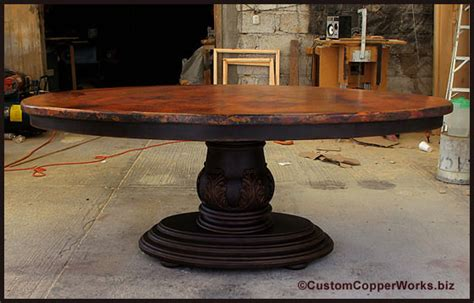 copper top dining table with wood base oval dining table wood pedestal base carved design