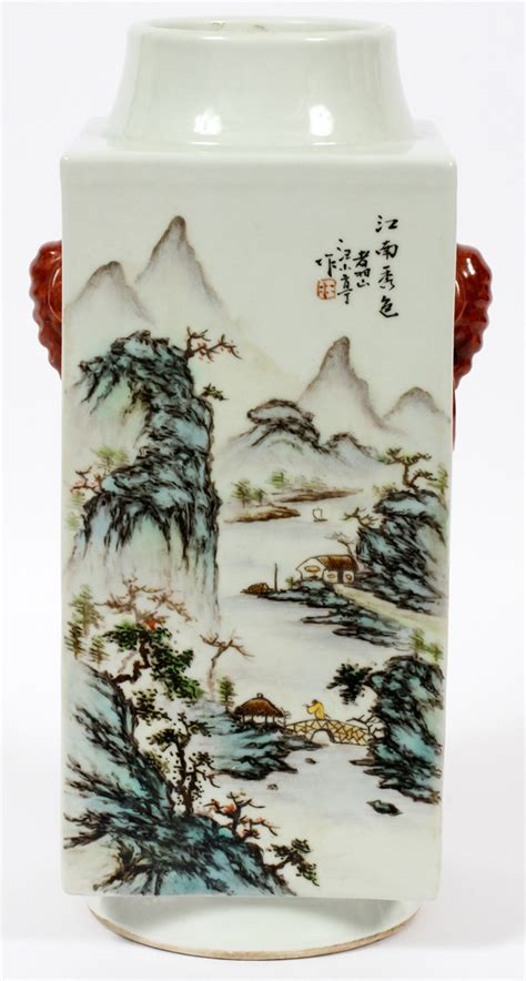 wholesale chinese style antique square chinese hand painted porcelain square vase