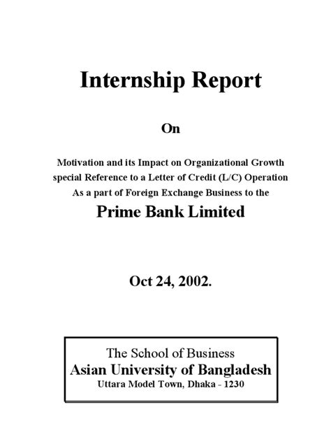 Bangladesh Credit Letter Internship Report In Prime Bank Limited Bd For Asian