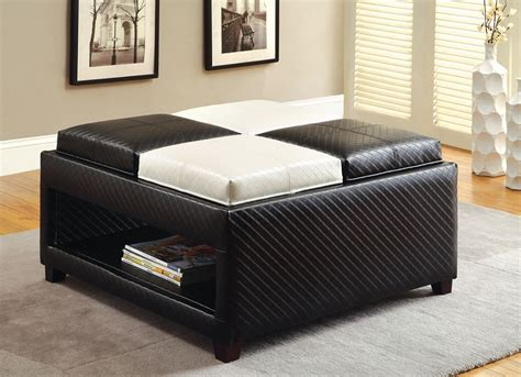 coffee table for black leather couch reni black white padded leather 4 flip tray ottoman