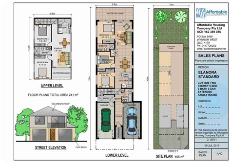 Narrow 2 Story House Plans by Narrow Lot Two Story House Plans