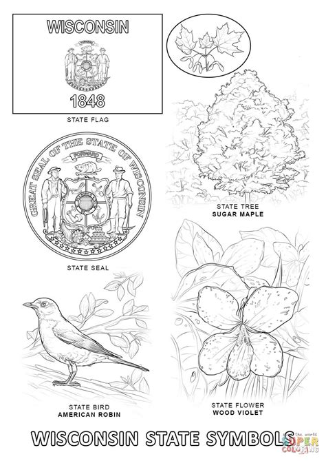wisconsin state symbols coloring page free printable