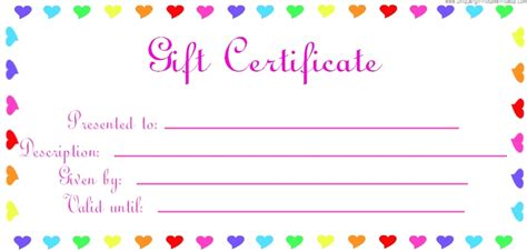 blank gift certificates templates blank colorful gift voucher certificate template
