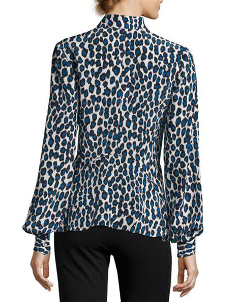 blue pattern blouse derek lam leopard print silk blouse blue pattern modesens