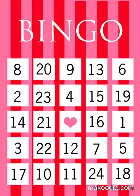 free printable number bingo cards for large groups valentines bingo makoodle