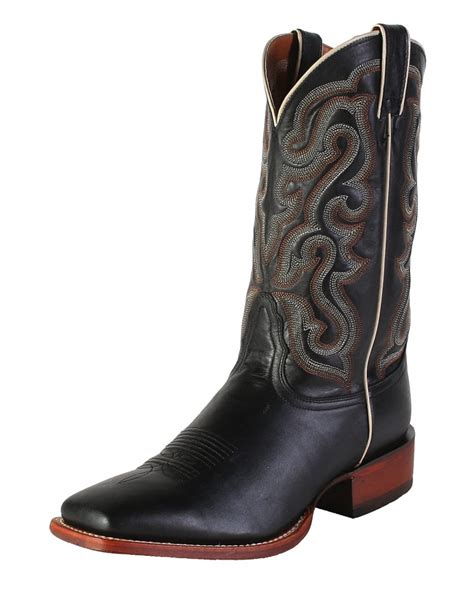 nocona 174 s black calf square toe boots fort brands
