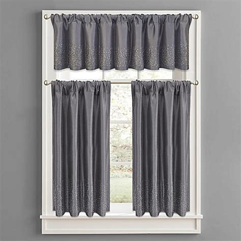 Gray Bathroom Window Curtains Buy Twilight Polyester Window Curtain Tier Pair In Grey From Bed Bath Beyond