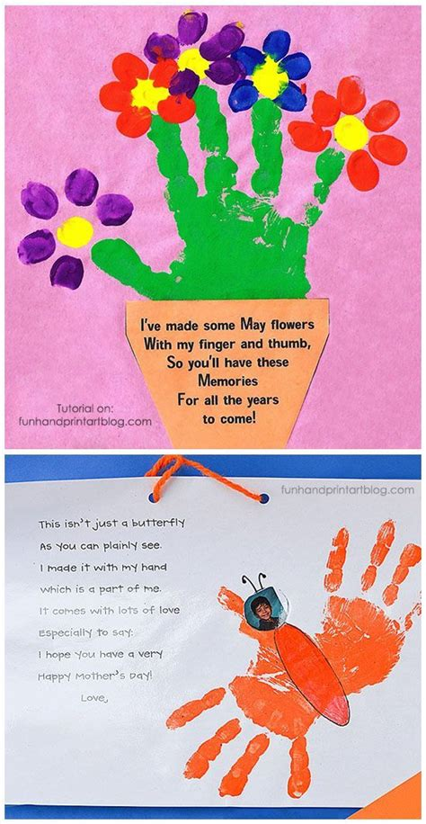 handprint  fingerprint flowerpot  poem  mothers