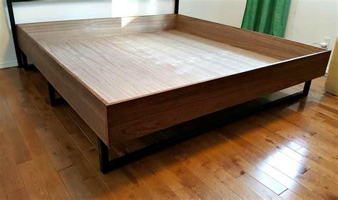 walnut diy plywood bed frame  welded legs dans le