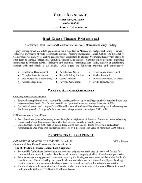 commercial real estate resume resume ideas