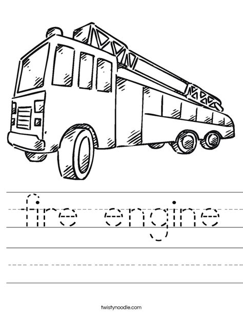coloring pages rescue vehicles fire engine worksheet twisty noodle