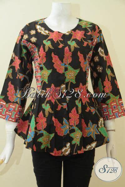 Blus Atasan Wanita Neumor Hitam Bunga Bunga Size 38 blus batik bunga bunga warna dasar hitam elegan batik jawa proses printing kwalitas halus model