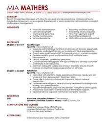 manager resume exles salon spa fitness resume sles