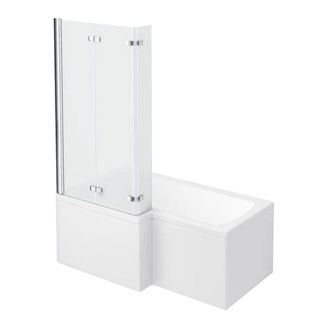 1500 l shaped shower bath milan shower bath 1500mm l shaped shower bath with screen panel