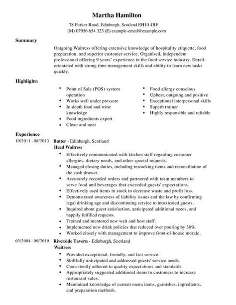 waitress resume 49 best resume exle images on resume