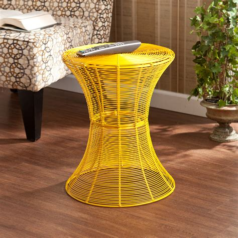 metal outdoor side table upton home indoor outdoor yellow metal accent