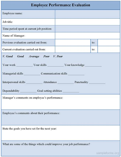 employee evaluation template sle employee performance evaluation form sle forms
