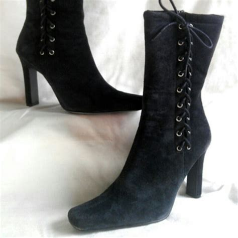 64 shoes black suede high heel mid calf lace up