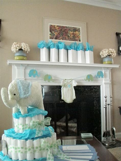 Baby Boy Elephant Themed Baby Shower by Blue And Green Elephant Baby Shower Decorations Elephant