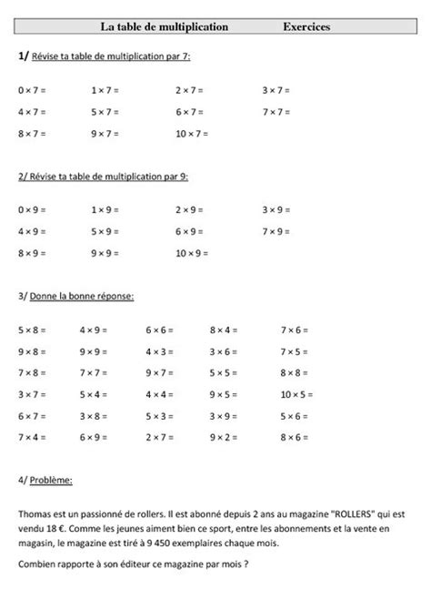 table de multiplication exercices nestis