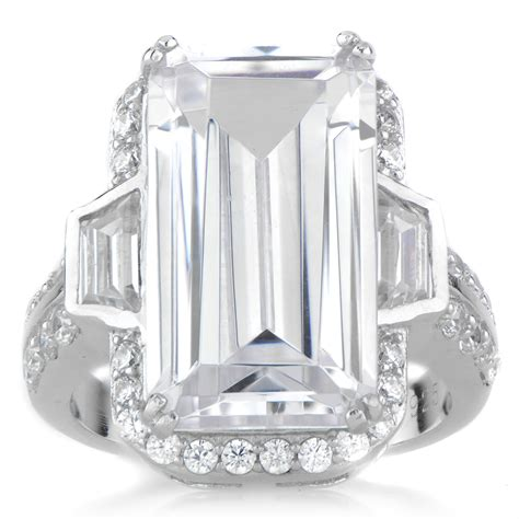 kendall s large emerald cut cubic zirconia cocktail ring