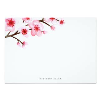 Painted Cherry Blank Invitation Cards Blossom Stationery Flat White Concrete Designing Template Cherry Blossom Invitation Template Free