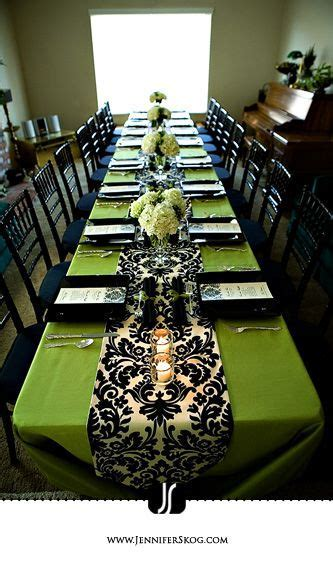 Green and Black damask table decor   Shower me with gifts