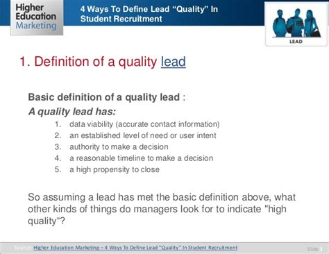Explain Quality 4 Ways To Define Lead Quality In Student Recruitment