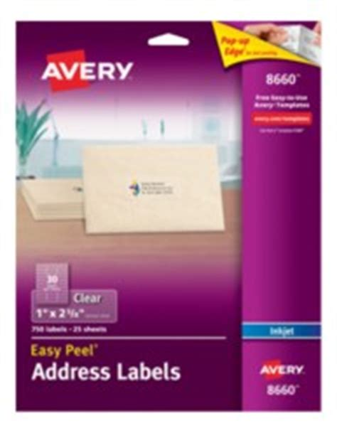avery template 8660 avery easy peel clear address labels