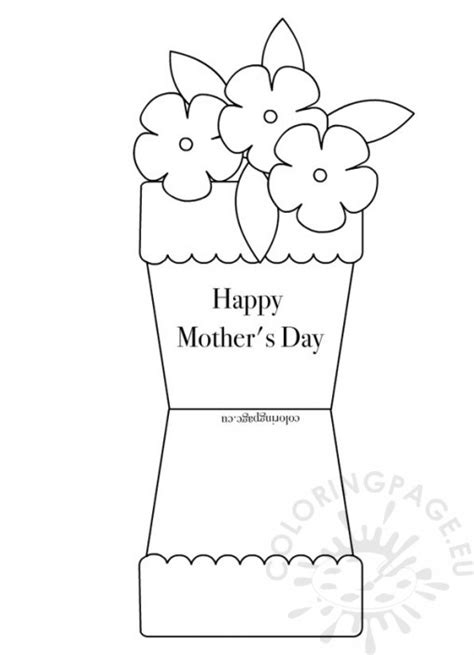 Potted Flower Card Templates by S Day Coloring Page