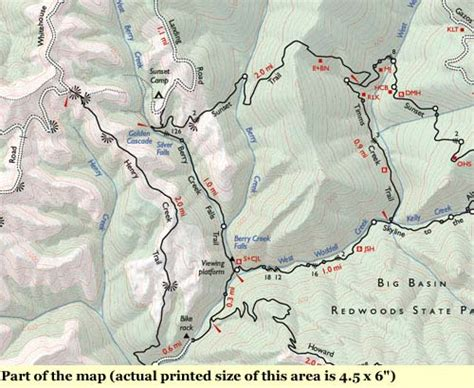 big basin trail map big basin redwoods state park annotated trail map