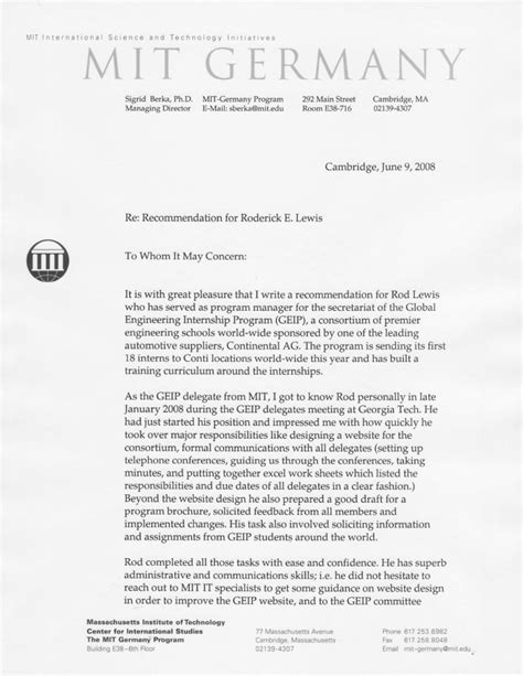 Mit Research Supplement Letter Of Recommendation Recommendation Letter Mit