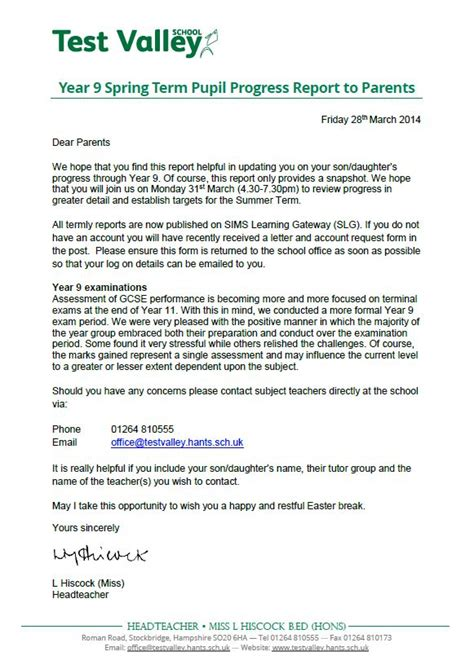 Progress Report Letter To Parents Test Valley School Year 9 Term Pupil Progress