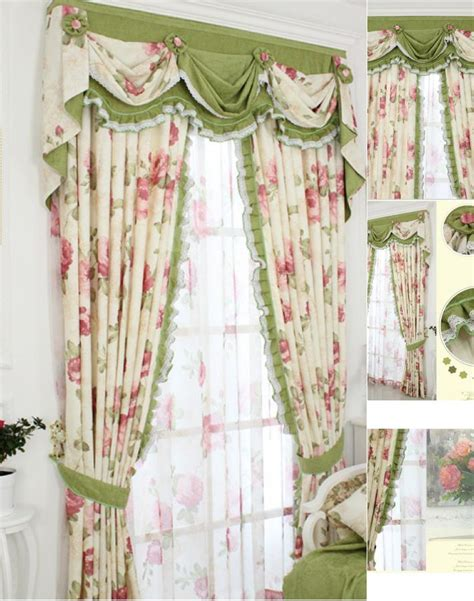shabby curtains shabby chic curtain with floral pattern and green color