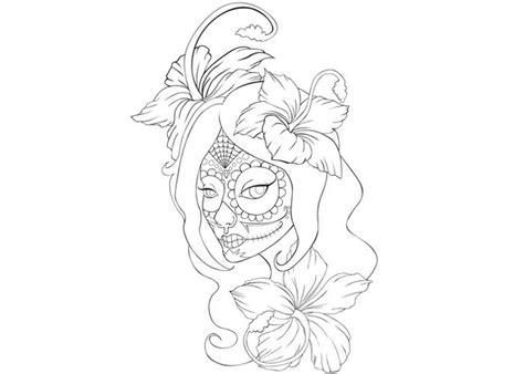 mexican girl coloring page sugar skull girl coloring sheet for dia de los muertos