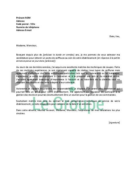 Lettre Motivation Ecole De Coiffure Lettre De Motivation Pour Un Emploi De Coiffeuse Confirm 233 E Pratique Fr