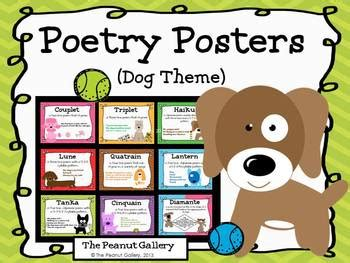 theme language definition this set features nine colorful poetry posters with a dog